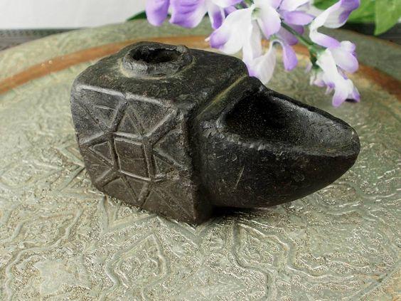 Stein Öllampe Nr:16/B - Rare carved Ghazni islamic Alabaster stone persan oil lamp in marble Afghanistan