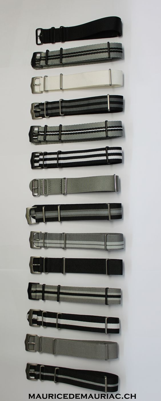 Grey collection of nato straps from Swiss watchmaker Maurice de Mauriac.