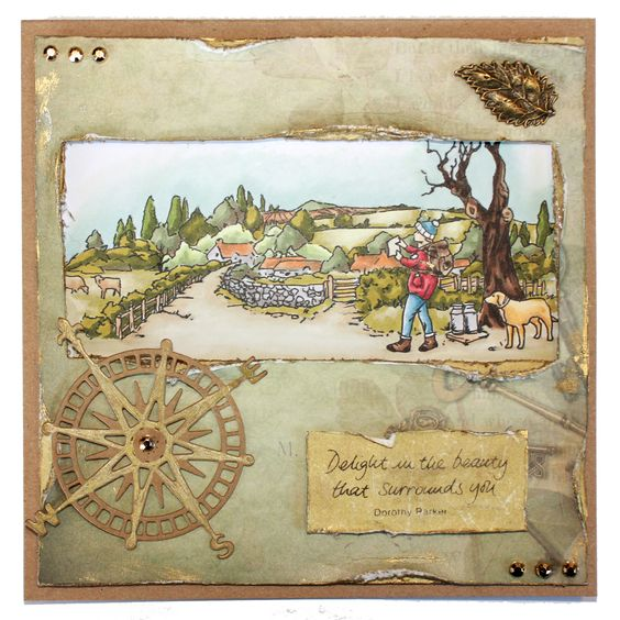CS123D 'Country Ramble' designed by Sharon Bennett for Hobby Art Stamps. Card by Sally Dodger: