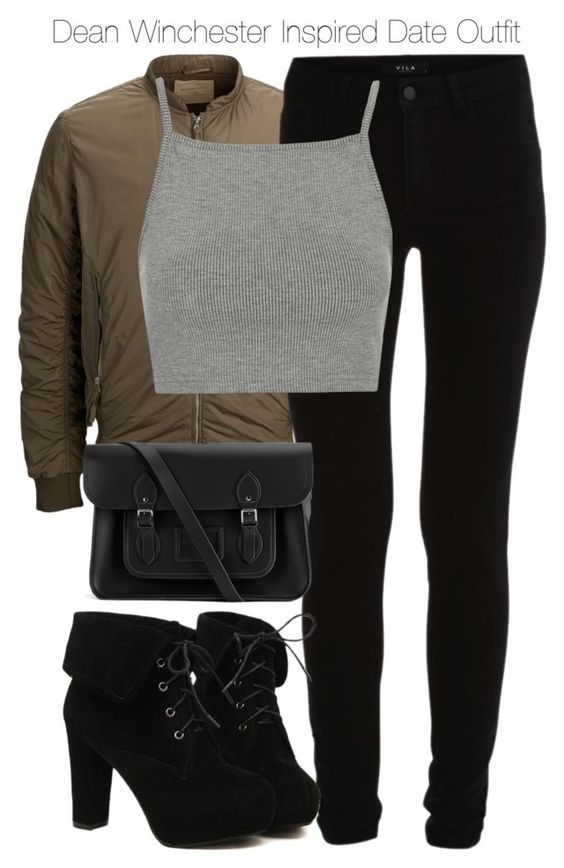 """Dean Winchester Inspired Date Outfit"" by staystronng ❤ liked on Polyvore featuring SELECTED, VILA, Topshop, TURNOVER, The Cambridge Satchel Company, date, DeanWinchester and spn"