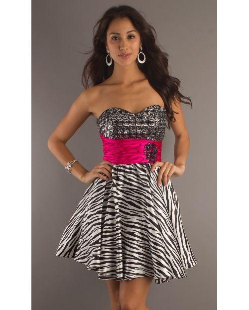 Animal print prom dress  Zebra Print Party Dress Strapless ...