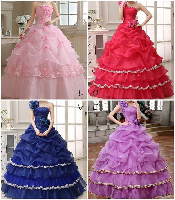 Strapless Beading Flower Quinceanera Dress