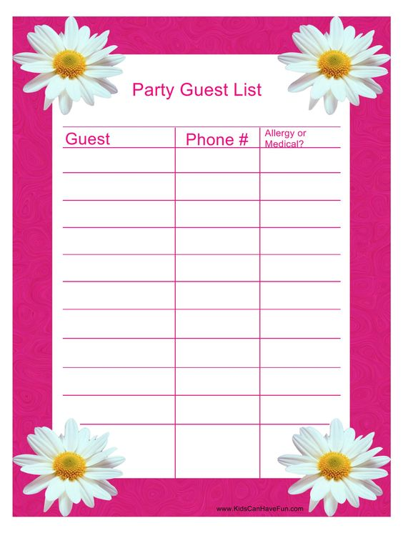 Pink Party Guest List http\/\/wwwkidscanhavefun\/party-planning - party guest list