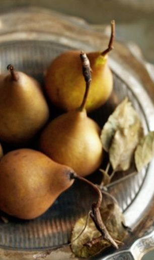 Fall Decor - Pears in Vintage Silver Bowl