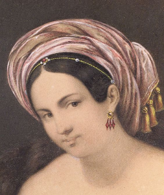 Miniature Femme au turban de Rudolph Lange 1839: