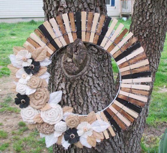 Primitive Clothespin Wreath Primitive Wreath by LadyEclecticShoppe: