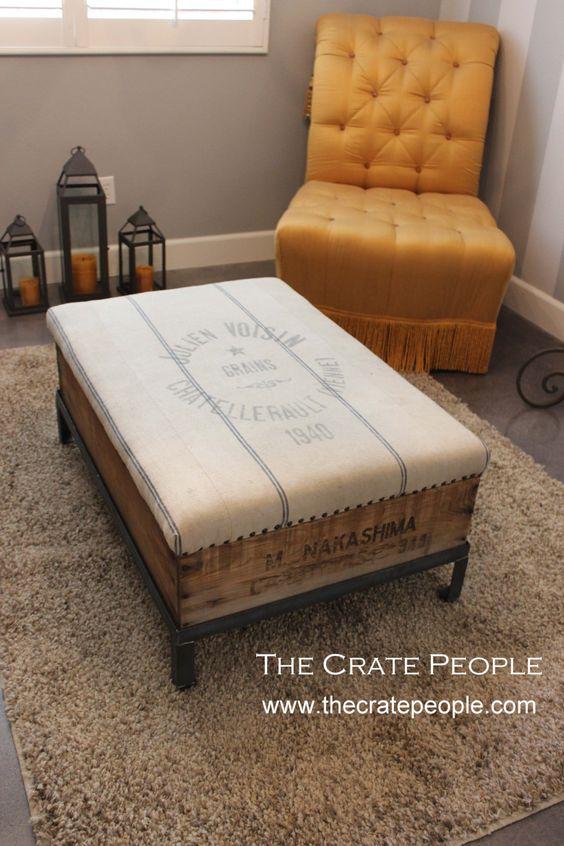Burgundy striped grain sack ottoman with vintage wood for Diy ottoman bed frame