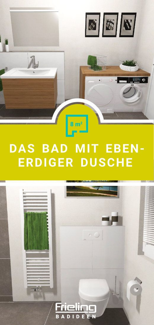 Waschmaschine Trockner Im Bad Barrierefrei Funktionell In 2020 Ebenerdige Dusche Dusche Bad