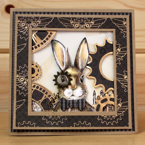 CS124D 'March Hares' Clear set contains 9 stamps. Designed by Sharon Bennett for Hobby Art. Card by Sally Dodger: