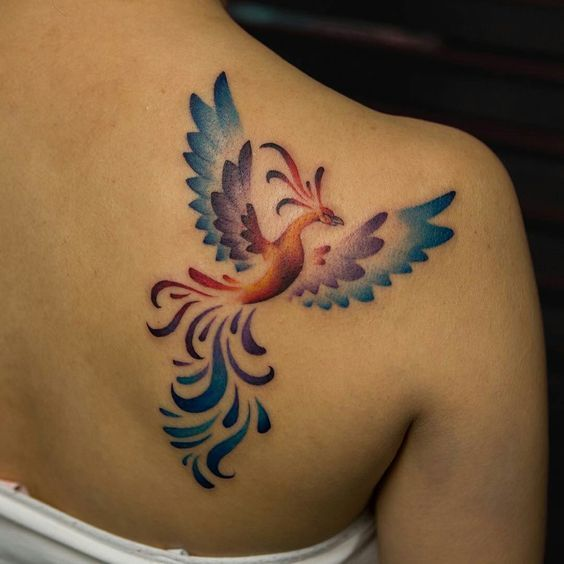 253 Tatuajes De Aves Pajaritos A Color O Grises Small Phoenix Tattoos Foot Tattoos Phoenix Tattoo Feminine