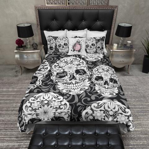 Black White And Grey Sugar Skull And Scroll Bedding Collection Skull Bedding Duvet Bedding Sets Duvet Bedding