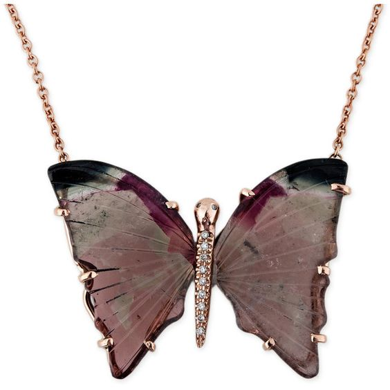 WATERMELON TOURMALINE BUTTERFLY NECKLACE ($3,500) ❤ liked on Polyvore