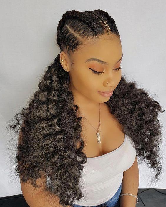 cabelo cacheado com tranças tradicional