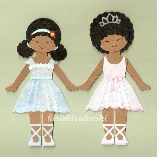 Cute African American Princess Ballerina Girl Paper Doll