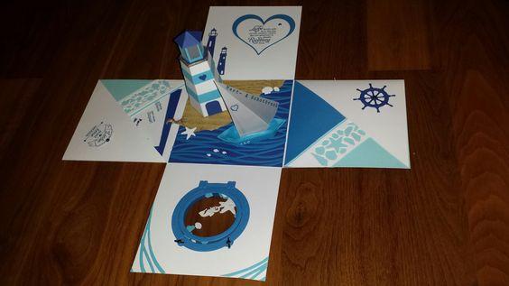 Exlosionsbox zur maritimen Hochzeit, explosion box wedding marine