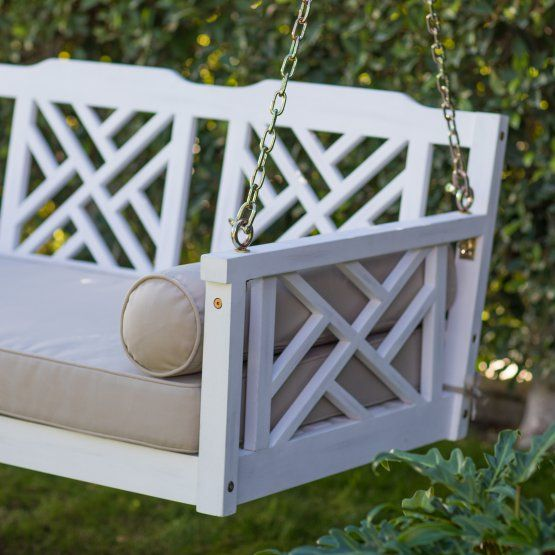 Belham Living Chippendale Deep Seating White Washed Porch Swing Bed With Cushion Porch Swing Bed Porch Swing Diy Porch Swing Plans