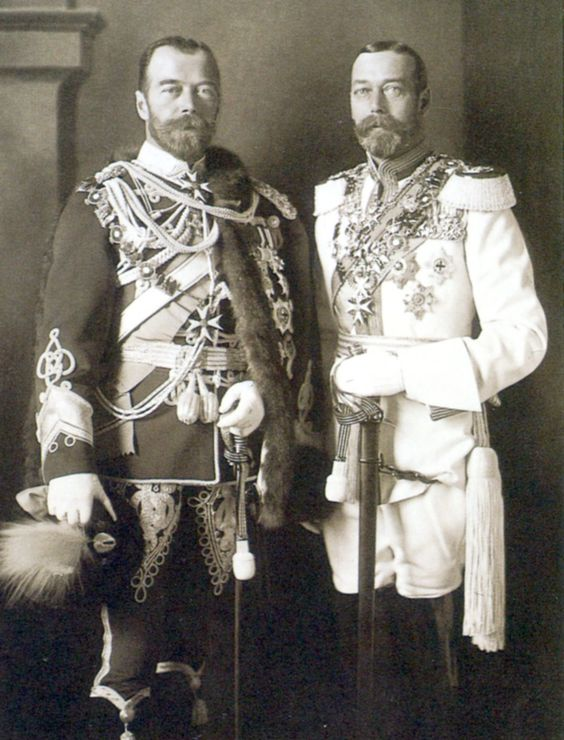 King George V of Great Britain and Tsar Nicholas II of Russia in Berlin, 1913 - first cousins: