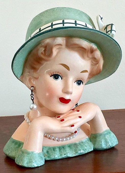 1950 S Relpo Lady Head Vase Head Vase Ceramic Lady Heads Doll Head