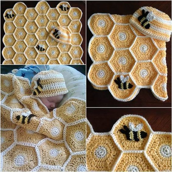 Mustrid - http://www.ravelry.com/patterns/library/sweet-as-honey-baby-blanket-set-with-bee-applique