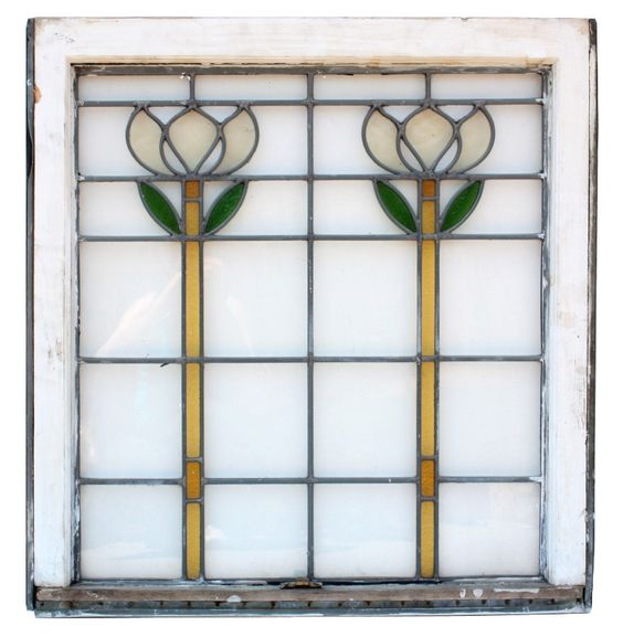 Matching Antique Floral American Stained Glass Windows NSG45-RW ...