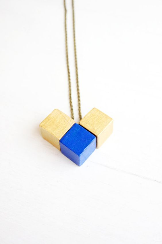 Cube wooden necklace wood jewelry boho chic hippie by TACEHandmade
