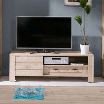 meuble TV style contemporain couleur chêne clair