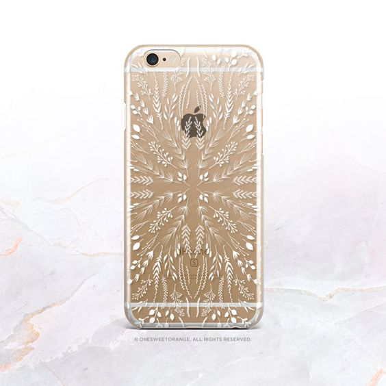 iPhone SE White Floral Clear Rubber Case iPhone 6S by HelloNutcase