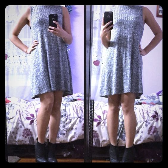 NWOT Gray Sleeveless Swing Dress I have a similar dress to this. Never worn except for pics. Bought it during 2 months ago. Its really comfortable& stylish. ❌Trades ❌Offers : Cardigan also for sale. Will be in another listing. Dresses