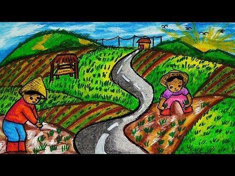 Cara Menggambar Pemandangan Sawah Dan Gunung Orang Petani Youtube Gambar Lanskap Cara Menggambar Painting