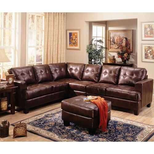 Samuel Contemporary 3 Piece Leather Sectional Sofa Brown