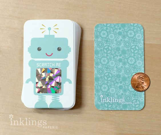 Robot Scratch Off Cards by InklingsPaperie