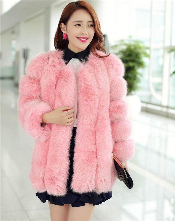 Pink Fox Fur Women Coat Lady Long Jacket -commodityocean.com