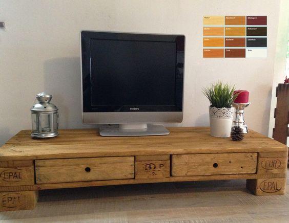Lowboard aus europaletten selber bauen  Palettenmöbel Europalette TV Lowboard TV Schrank mit 2 Schubladen ...