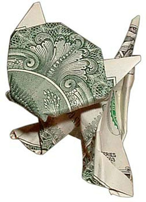 Money origami-cat: