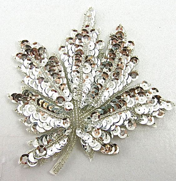 "Leaf with Silver Sequins and Beads 4.5"" X 4.5"":"