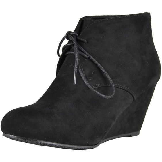 Womens Ankle Boots Faux Suede Low Heel Lace Up Casual Wedges Black