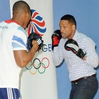 The actor Will Smith trying out some sports with athletes, boxers and basketball players from the GB Olympic team.