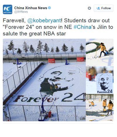 Estudantes chineses desenham Kobe Bryant na neve (Foto: Reprodução/Twitter)
