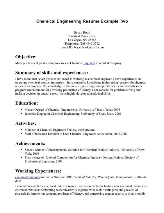 Chemical Engineering Resume Chemical Engineering Resume For Job Your Tags Sample Engineer