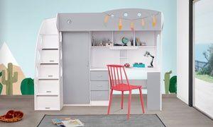 Lit Mezzanine Combine Kiddy Pour Enfant Avec Penderie Et Bureau Integres Matelas En Option Livraison Offerte Lit Mezzanine Lit Combine Lit Combine Enfant