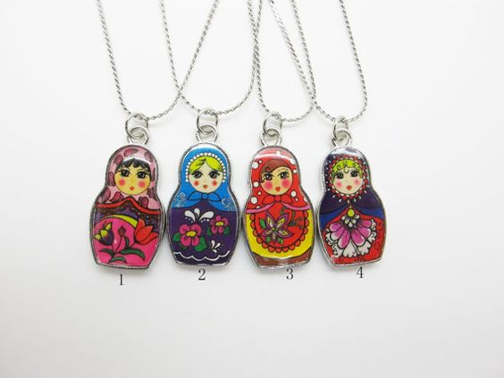 Babushka Matryoshka Russian Doll Necklace 4  by xiaobaoplace, $2.90