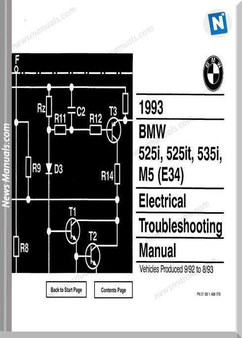 Bmw 525i 525it 535i M5 1993 Troubleshooting Manual Electrical Troubleshooting Electrical Diagram Bmw 318i