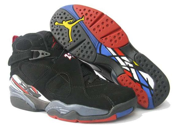 Womens Air Jordan 8 Retro Black Color Bottom Shoes
