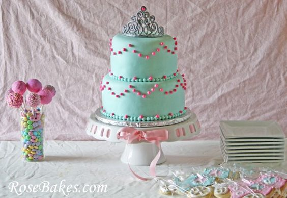 Princess Party Table Cake Cookies Cake Pops Pink Turqoise
