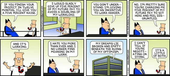 Dilbert shows how extrinsic motivation can backfire
