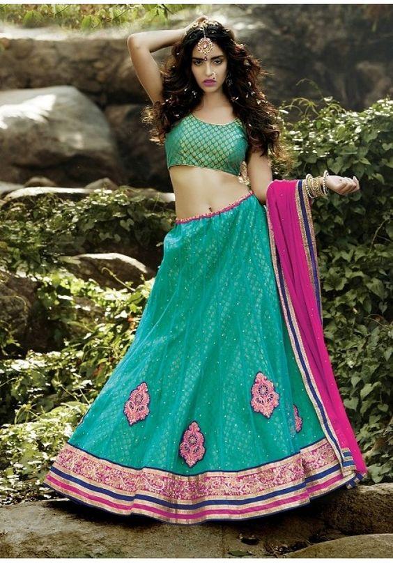 Attractive Turquoise Bright Square Net Lehenga