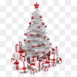하얀 크리스마스 선물 상자 하얀 크리스마스 트리 선물 상자 빨간 팬던트무료 다운로드를위한 Png 및 Psd 파일