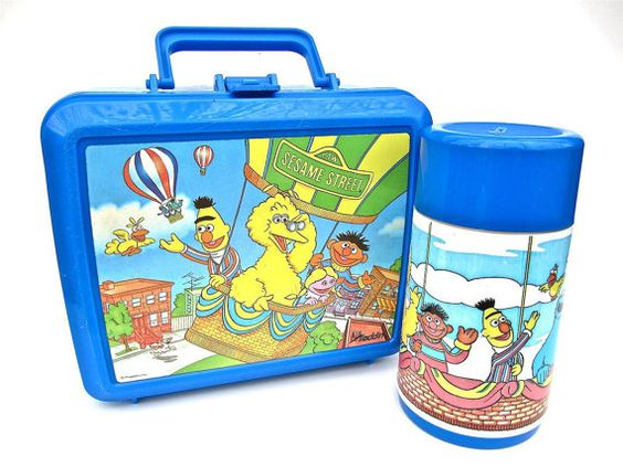 Sesame Street Blue Plastic Lunchbox with Thermos by @worldvintage #vmteam