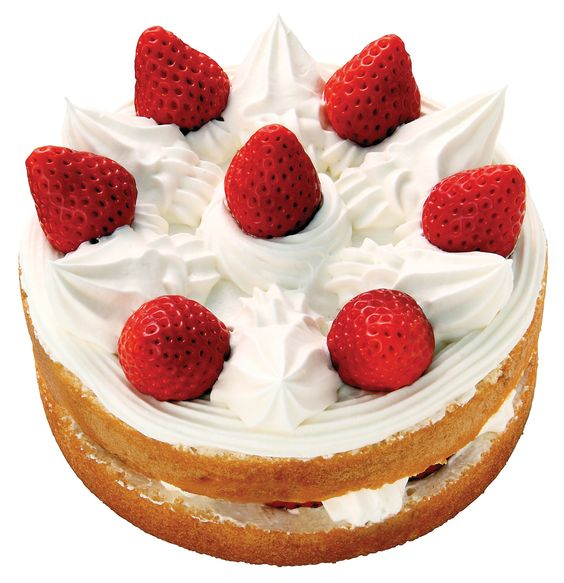 "KURISUMASU KEIKI-Japanese Christmas Cake. The Japanese ""shortcake"" is a sponge cake decorated with whipped cream and strawberries. Usually, it is a layered cake. (Courtesy of Fujiya):"
