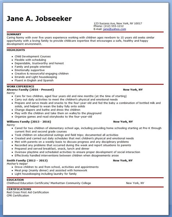 Are you having issues building a convincing resume? Tired of not - nanny resume